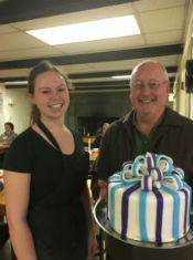 Laura Kronz, her spectacular cake, and a happy Len Crane