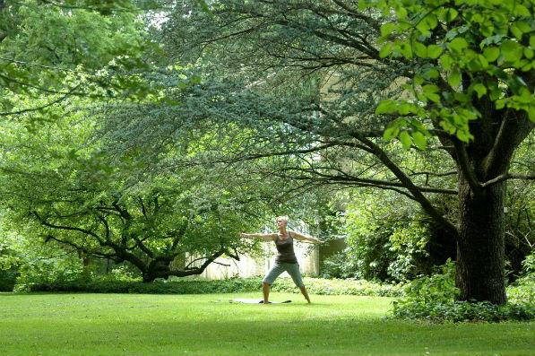 practicing yoga among Pendle Hill's abundant greenery