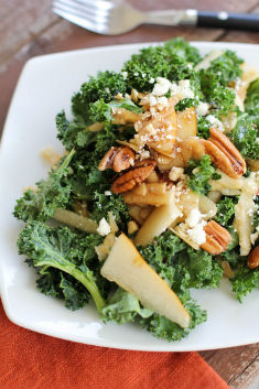 Kale salad with pear, pecans, and Gorgonzola